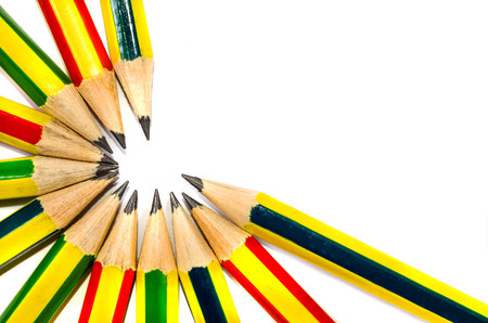 the concept of a rubber pencils and pen turnovers photo