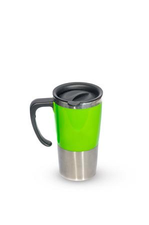 Aluminum mug isolated on white photo