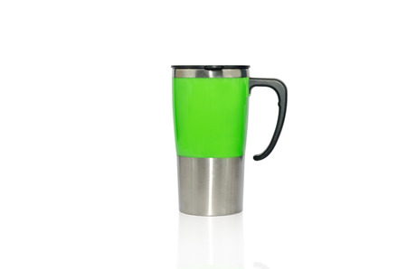 Aluminum mug isolated on white photo