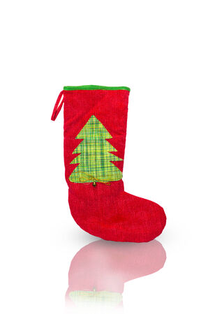 Christmas knitted sock on white background photo