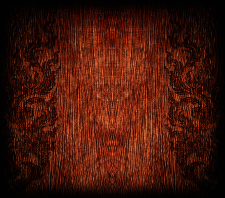 old red bamboo craft texture,Pattern of old wood frame carve flower on wood background photo