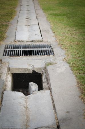 huge potholes manhole damaged photo