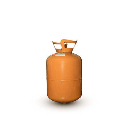 refrigerant: refrigerant old gas tank orange r404 on white background