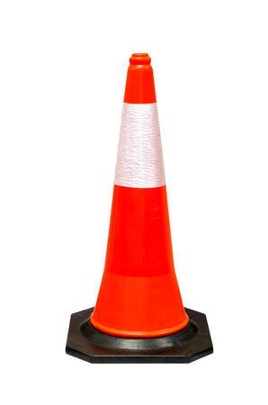 orange cones on street,old traffic cones on white background. Stock fotó