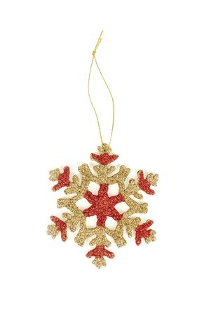 topper: Gold snow flake Christmas tree topper.
