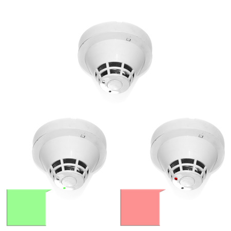 detectors: smoke detectors mounted on ceiling Stock Photo