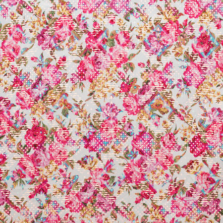 fragmented: Fragment of colorful retro tapestry text, Fragment of colorful retro tapestry textile pattern with floral ornament useful as background Stock Photo