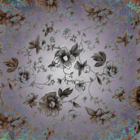 tapestry: Fragment of colorful retro tapestry textile pattern with floral ornament
