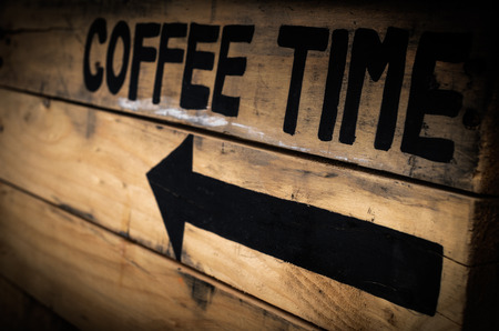coffee meeting: Signs Coffee on wood old retro Stock Photo