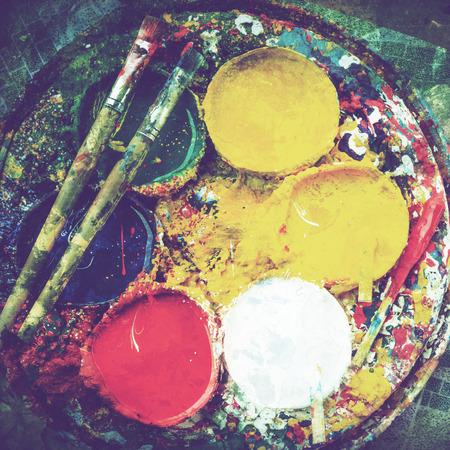 Watercolors and brushes Stock fotó