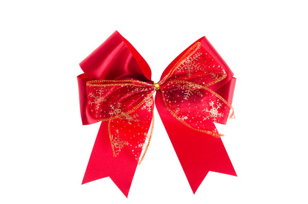 Red satin gift bow. Ribbon. Isolated on white Stock fotó - 42136425