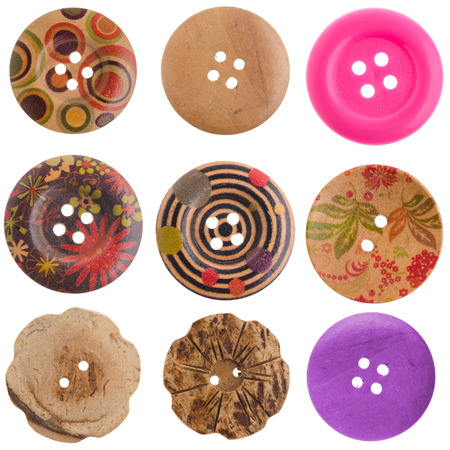 set wooden button isolated on white background with clipping path