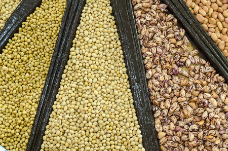 mixture: close-up, Mixture of dried lentils, peas, Grains, beans background. Stock Photo