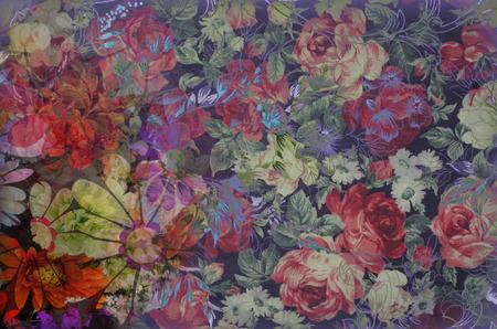Fragmento de texto de colores retro tapiz, Fragmento de colorido patrón de tapicería textil retro con el ornamento floral útil como fondo Foto de archivo - 45722548