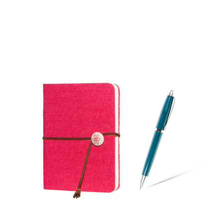 notebook and pen isolated on the white