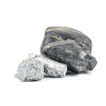 roundish: stones isolated on white background. Natural minerals Stock Photo