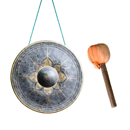 Thai native Gong isolated on white background.