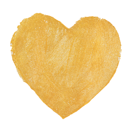 drawing gold Heart. Stock Photo