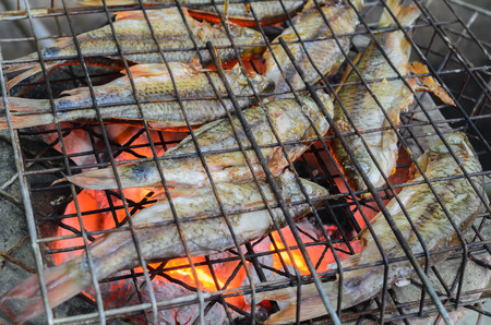 fish fire: grilled fish  on fire Stock Photo