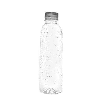 managing waste: Plastic bottle of drinking water isolated on white Stock Photo