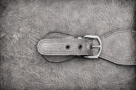 suede belt: Fastened buckle. Buckle section of a leather bag or case. Extremely shallow depth of focus. Focus is on buckle pin. Stock Photo
