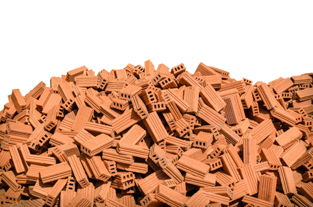 group of red bricks on white background Stock Photo