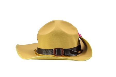 khaki hat with white background Stock Photo