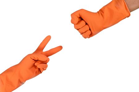 rock paper scissors wear rubber glovesHigher