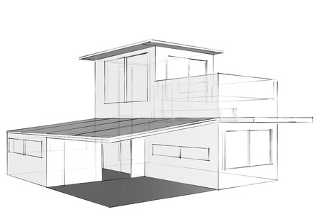 Drawing of house on white  background Stock fotó