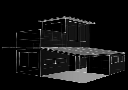 Drawing of house on black  background