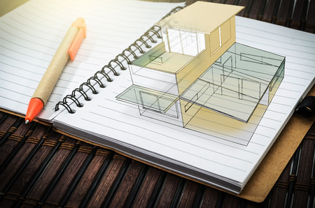 Graphical sketch concept  home , on notebook paper background Stock fotó