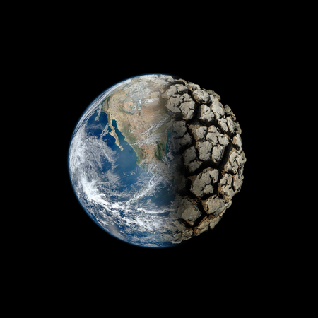 Dead Planet Earth without water - the global ecological catastrophe, a fantastic assumption of the future,Elements of this image furnished by NASA