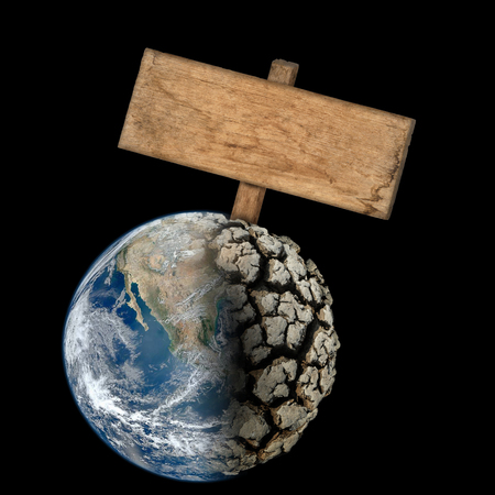 wooden sign on Dead Planet Earth without water - the global ecological catastrophe; a fantastic assumption of the future; Elements of this image furnished by NASA Stock fotó