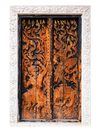 close up Thai carved doors wood