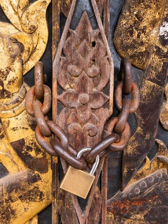 door locked close up Thai carved doors wood