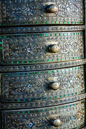 Material Roof,wall and ancient tile Thai silver pattern Crafts world  Thai Lanna style  Delicate style is timeless and powerful  Chiang Mai, Thailand  Stock Photo