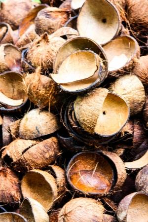 Mucchio di bucce di cocco scartati in Thailandia Archivio Fotografico