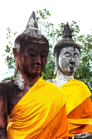 the image of Buddha in Buddhas relics temple smokes to pierce Thailand medicine Stock Photo