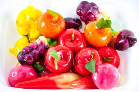 Thai various desserts are colour on white background Stock Photo
