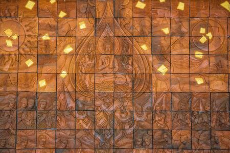 the image of Buddha carves wall back Stock Photo