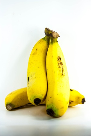 banana is yellowwingcooked lay on white background Stockfoto