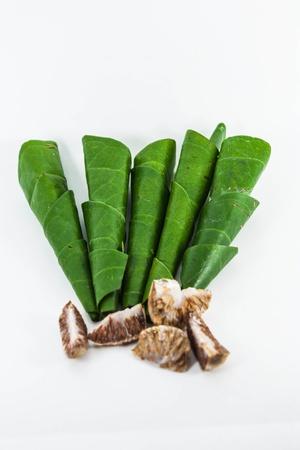 betelnut: Areca nut, betel nut chewed with the leaf is mild stimulant Stock Photo