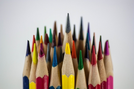 A pile of colorful crayons,View of above. photo