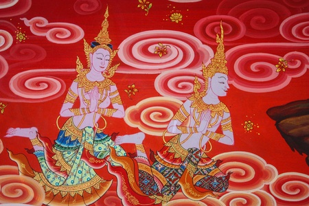 Ancient Buddhist temple mural detail depicting Thai angels