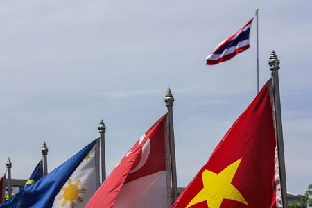 southeast: Central and Southeast Asia Square Icons Flags Collection