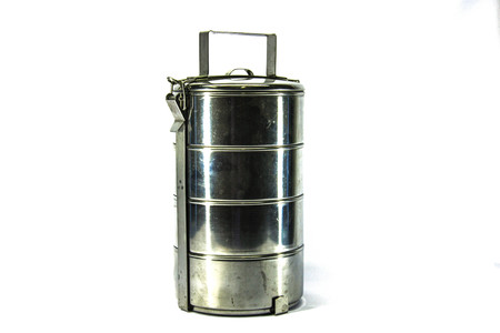 tiffin: Tiffin carrier isolated on white background