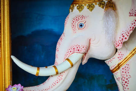 elephant on a door of a temple in Chiang Rai