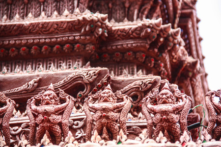 king palace: Golden Guardian Statues in King Palace in Bangkok Stock Photo