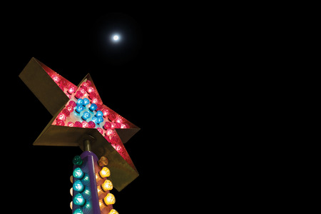 Star light bulb is one of the business concepts, one star on night.black background