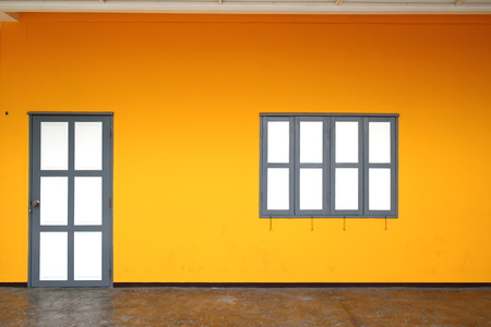 windows and doors: doors, windows White Orange wall And the brown